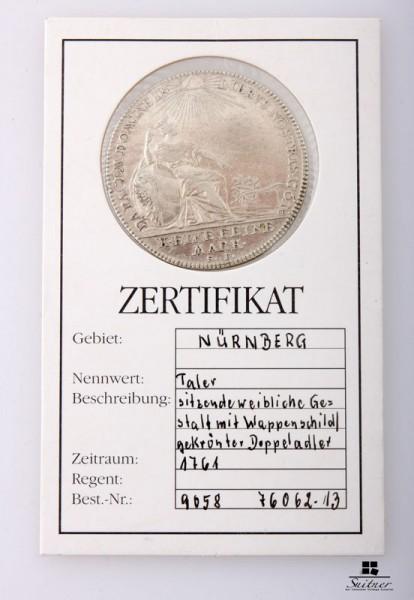 Taler Nürnberg, Stadt, 1761 Zustand VZ, sehr selten