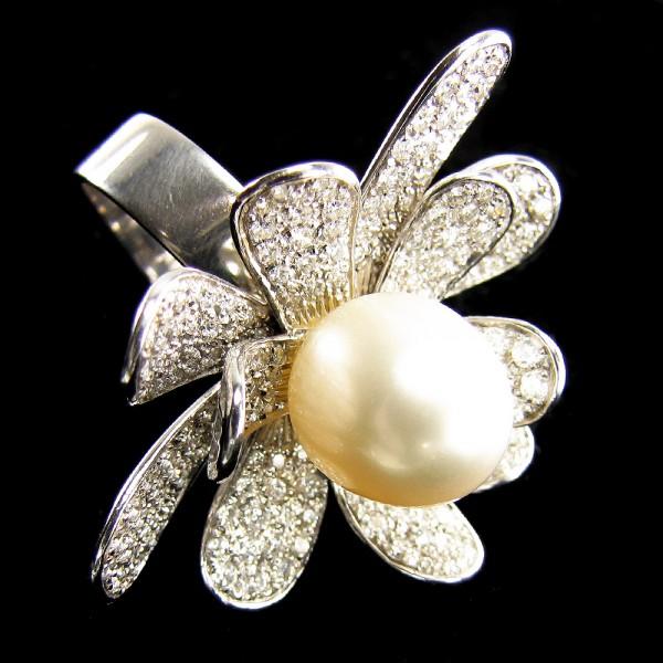 purer Luxus - Seerose Ring 2,30ct. Brillanten 8000 Euro Blumen Südseeperle XL