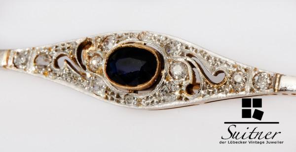feine Art Deco Stabbrosche großer Saphir und Diamant 585 Gold Unikat