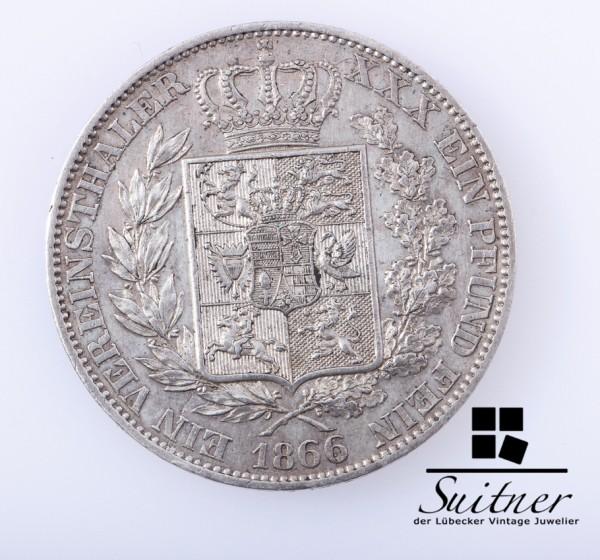 Oldenburg 1866 Vereinsthaler B 1853 bis 1900 VZ Selten Taler