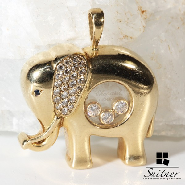 Chopard Anhänger - der große Elefant mit Brillanten - happy Diamonds big Elephant Gold
