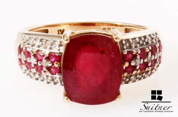 großer Rubin Ring von Harry Ivens aus Gold mit Diamanten Ruby IV