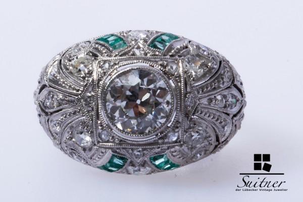 Art Deko Ring Smaragde Brillanten 1 Solitär ca. 1,00 ct. Gr.49 Weißgold Platin
