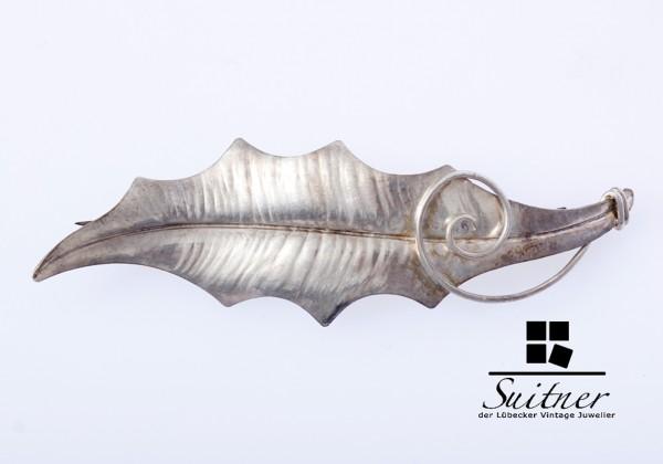 Sehr schöne Art-Deco-Blattbrosche von Christoph Kay (1869-1943) - 800er Silber