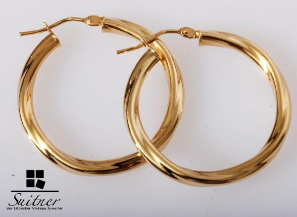 große XL Design Creolen aus 585 Gelbgold gedreht Ohrringe