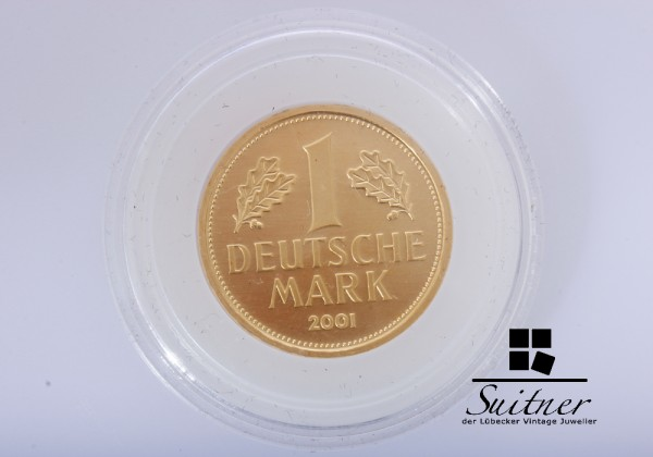J - Feingold - 1 Deutsche Mark 2001 - Deutsche Bundesbank - 12 Gramm Gold OVP