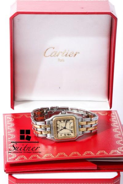 Cartier Panthere Uhr Stahl/Gold Medium Ref. 110000 mit Box Papieren 2 Reihen