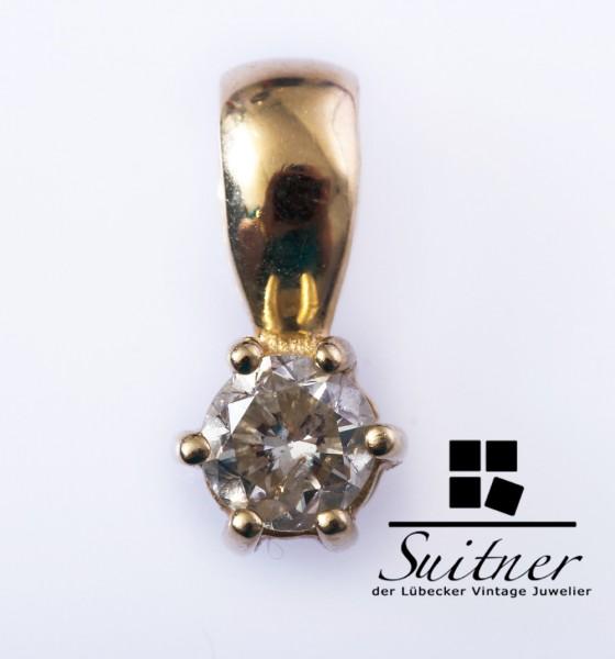feiner Solitär Anhänger 0,50ct Brillant 585 Gold - Halbkaräter Gleiter