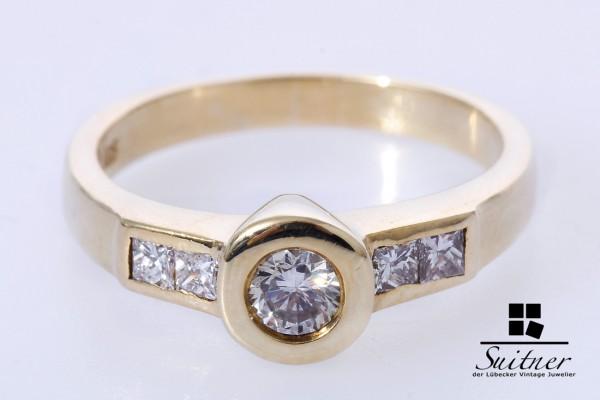 moderner Ring mit Brillant 0,60ct Diamanten 585 Gold Gr 52 VS Princess