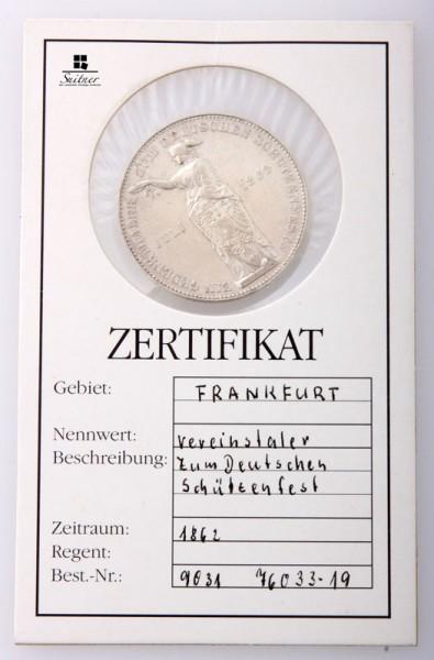 Frankfurt 1862 Vereinstaler zum Deutschen Schützenfest mind. SS Zertifikat