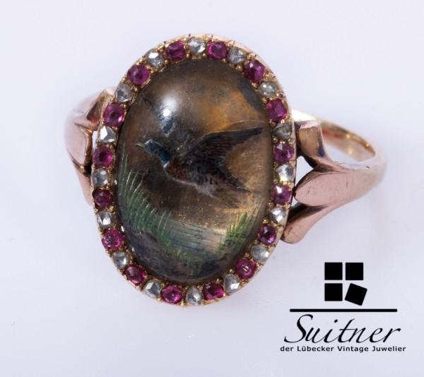 Antiker 585 Ring um 1900 Hinterglasmalerei Diamant Rubine Gr. 57,5