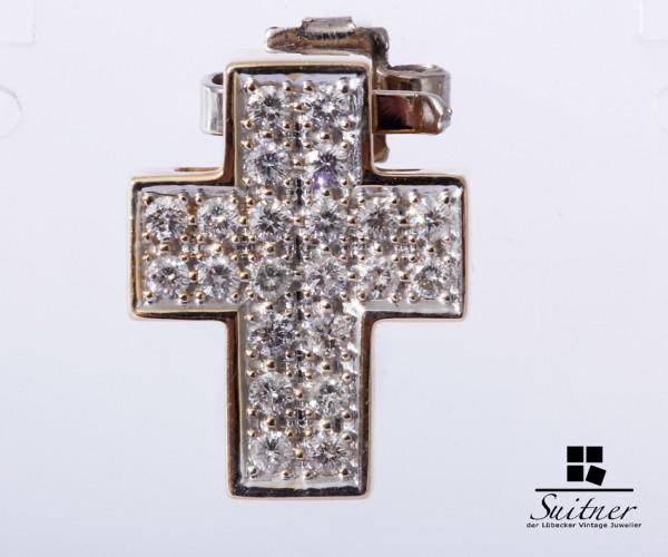 Kreuz Anhänger mit Brillanten zus. ca. 0,44ct aus Gold Cross Pendant