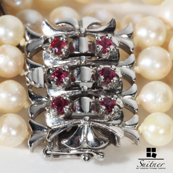 wertvolles Armband mit Perlen Weißgold und Rubin