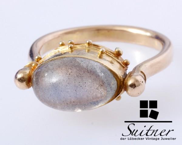 Mondstein Ring Unikat im antik römischen Stil 750 Gold Gr. 52