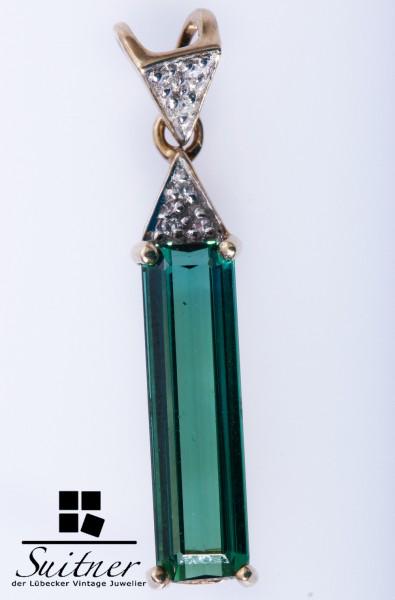 moderner Anhänger aus Gold mit Turmalin Grün Flaschengrün Stab Design