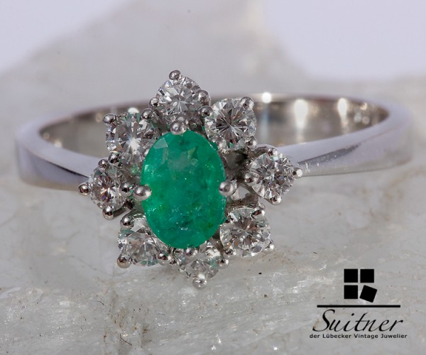 Brillant Smaragd Ring 750 Weißgold Gr. 55