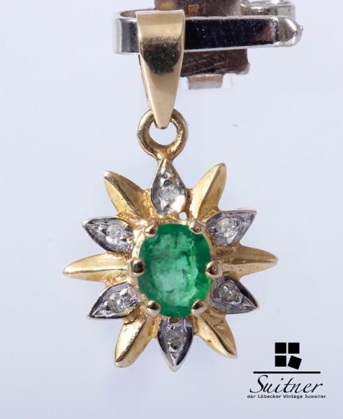 Anhänger mit Diamanten und Smaragd ca. 0,25 ct. 585 Gold