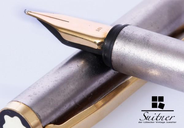 alter feiner Montblanc Füller Edelstahl Feder 585 Gold
