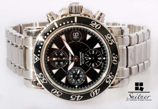 Montblanc Meisterstück Chronograph 7034 Stahl 41,5mm Luxus Uhr