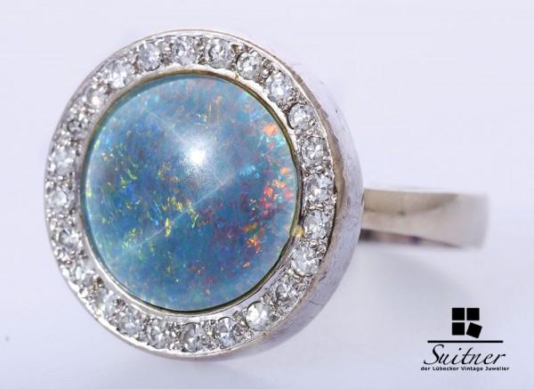 großer Opal Ring mit Brillanten 585 Weißgold Gr. 60 Rund Art Deco Stil