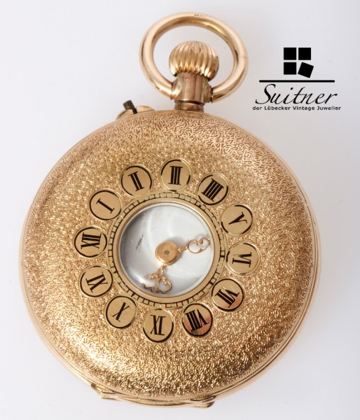 feine Taschenuhr 585 Gold 3 Deckel Sichtfenster um 1900 floral
