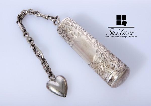 Hochwertiger antiker Chatelaine-Anhänger in Form einer Pillendose aus 925er Silber