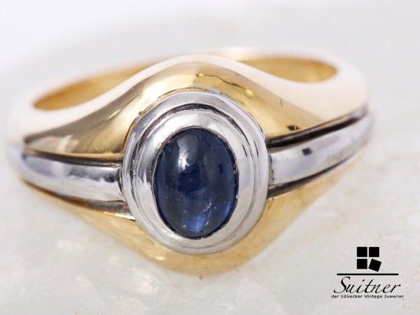 großer Saphir Ring 750 Gold und Weißgold 750 Gr. 53,5