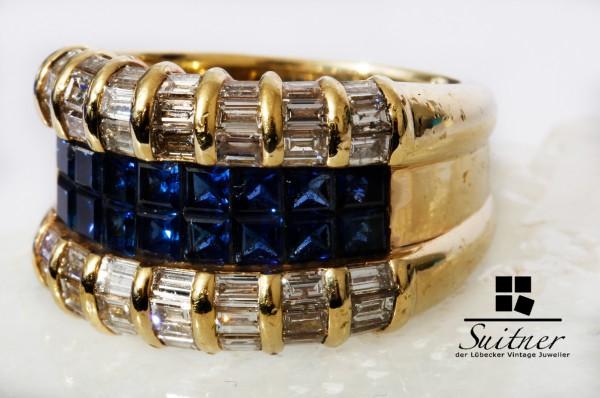 Juwelier WILM 3,40ct. Burma Saphir Diamant Ring 750 Gold Gr. 55 NP 28.000,-