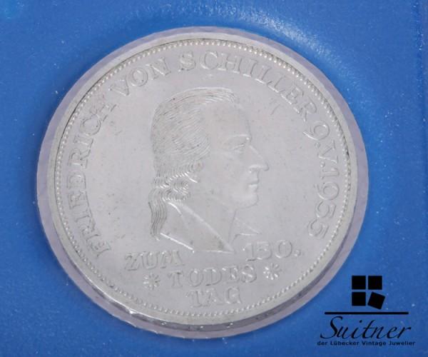 5 DM Friedrich von Schiller 1955 Silber Prägestätte F VZ