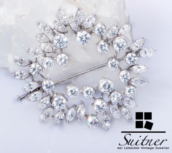 prächtige 6,98ct. große Brillant und Diamant Brosche aus 750 Weißgold Unikat