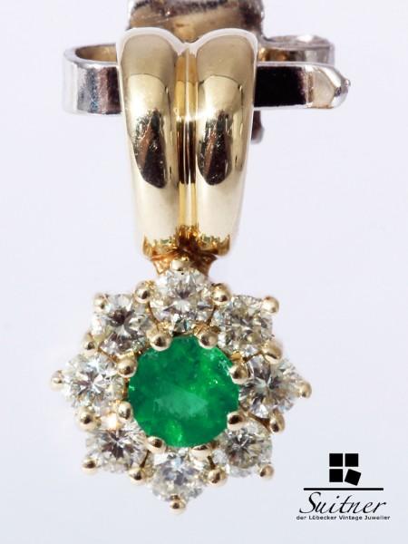 Smaragd Brillant zus. über 0,30 ct. Anhänger 585 Gold Pendant Emerald