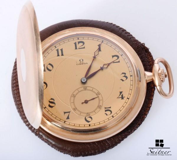 Omega Taschenuhr von 1923 aus 585 Gold Handaufzug Art Deco 3 Deckel