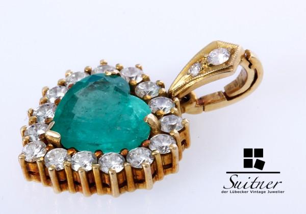 5,76ct. Smaragd Herz mit Brillanten Anhänger 750 Gold Emerald Pendant Heart