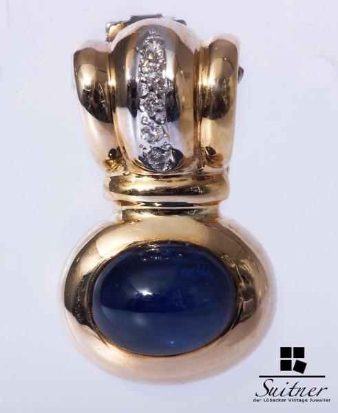 Anhänger Perlclip Saphir Brillanten 585 Gold