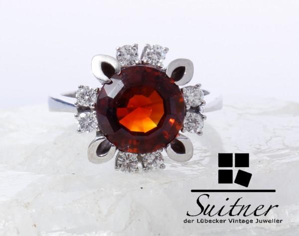 großer Madeira Citrin Brillant Ring 585 Weißgold Gr. 54 Luxus pur