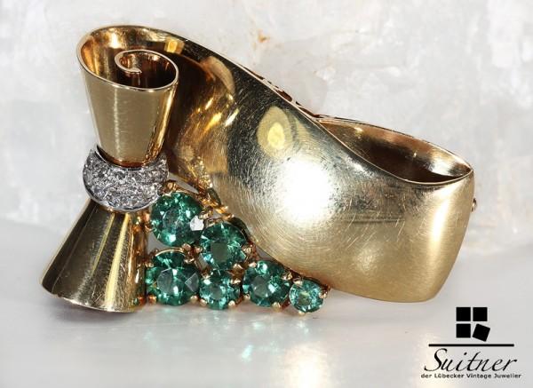 Brosche Turmalin Diamanten vintage 585 Gold