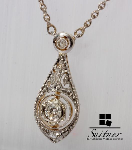 Jugendstil Collier Kette Altschliff Diamant 585 Gold / Silber