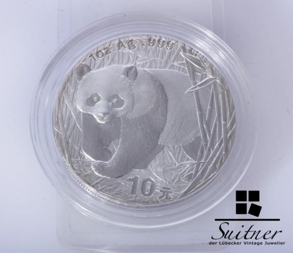 China 10 Yuan Panda 2001 1 Unze Silber PP Proof sehr selten