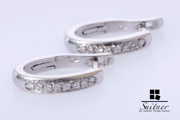 moderne und hochwertige Brillant Creolen 750 Weißgold 16 Diamanten Luxus