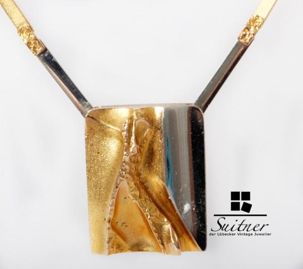 großes Lapponia Collier 585 Gold und Platin Finnland Kette