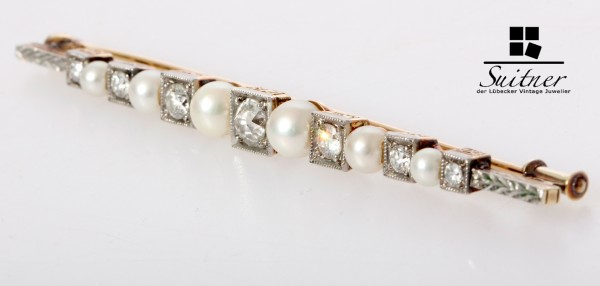große Art Deco Brosche Perlen Diamanten Stabbrosche 585 Gold