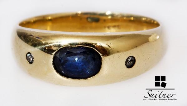 3-Stein Ring aus 585 Gold mit Saphir und Brillanten Bandring Ceylon Blau Gr. 54