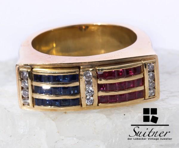 wertvoller Art Deco Ring Brillant Saphir Rubin 750 Gold Gr. 61 XL massiv