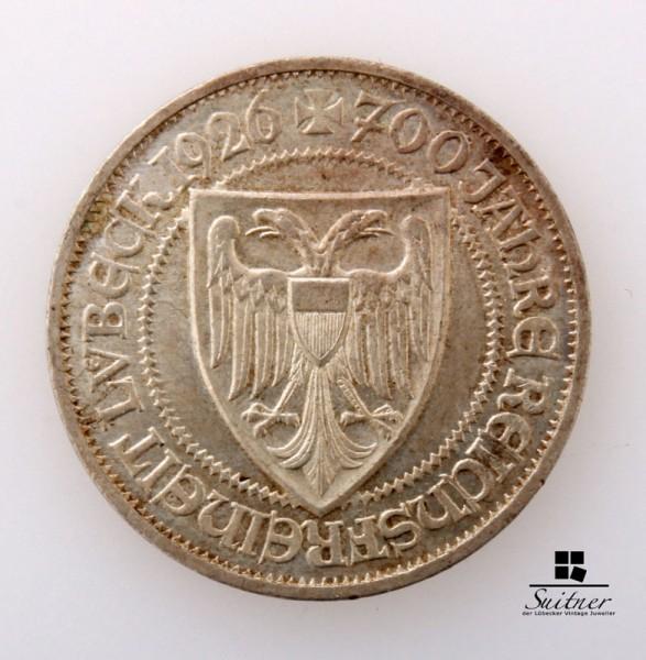 3 Reichsmark Lübeck 1926 A mind. SS Mark Hansestadt selten