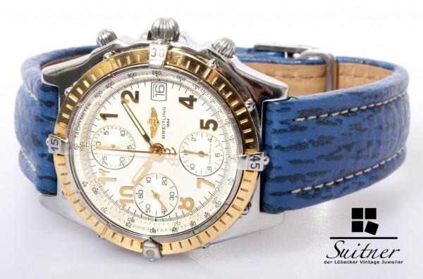 Breitling Chronomat Stahl/Gold D13050 blaues Lederarmband Vitesse GT