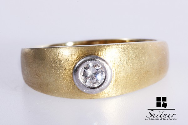 großer Herrenring Brillant Ring ca. 0,28 ct 585 Gold Gr. 64 massiv