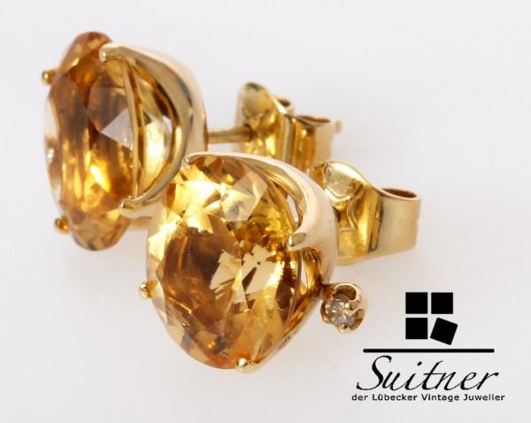 große Citrin Brillant Ohrstecker aus 750 Gold XL Edelsteine Gelb