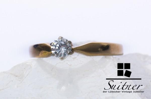 klassischer Brillant Ring ca. 0,25ct 585 Gold Verlobungsring Gr. 56