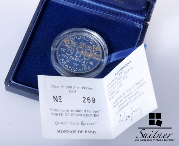 Monnaie Paris 999 Platin Münze 500 Francs 1993 mit Box 70 Ecus
