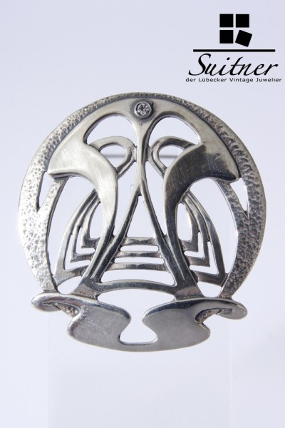 Jugendstil Brosche Anhänger Silber Zirkonia 925
